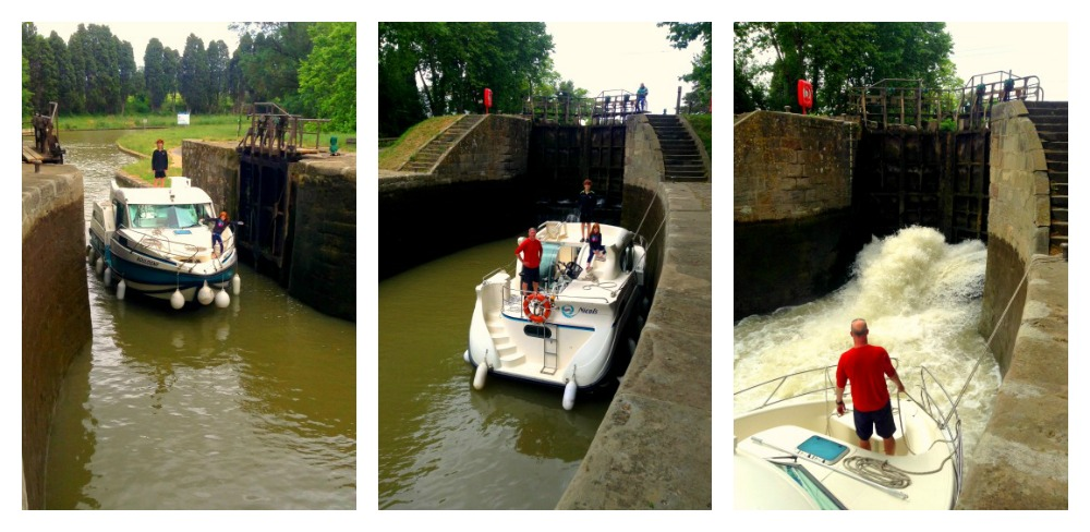 boat entering and tying up in the lock station on the Canal Du Midi, France