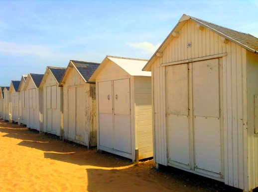 Beach huts in Normandy, France