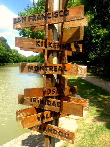 directional post on the Canal Du Midi, France