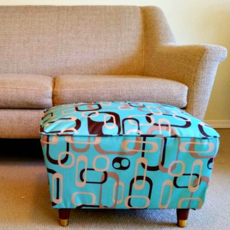 Mid century footstool updated with maud inspired fabric