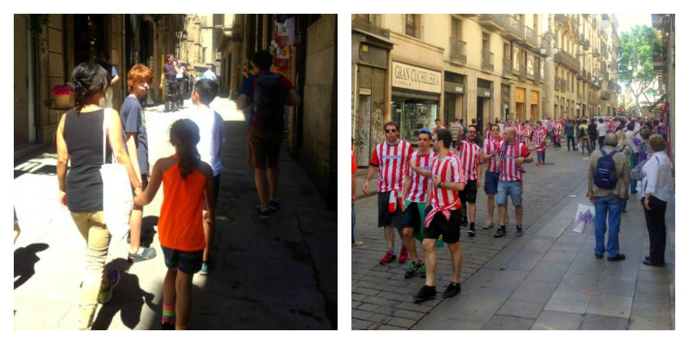 Barcelona side streets on game night