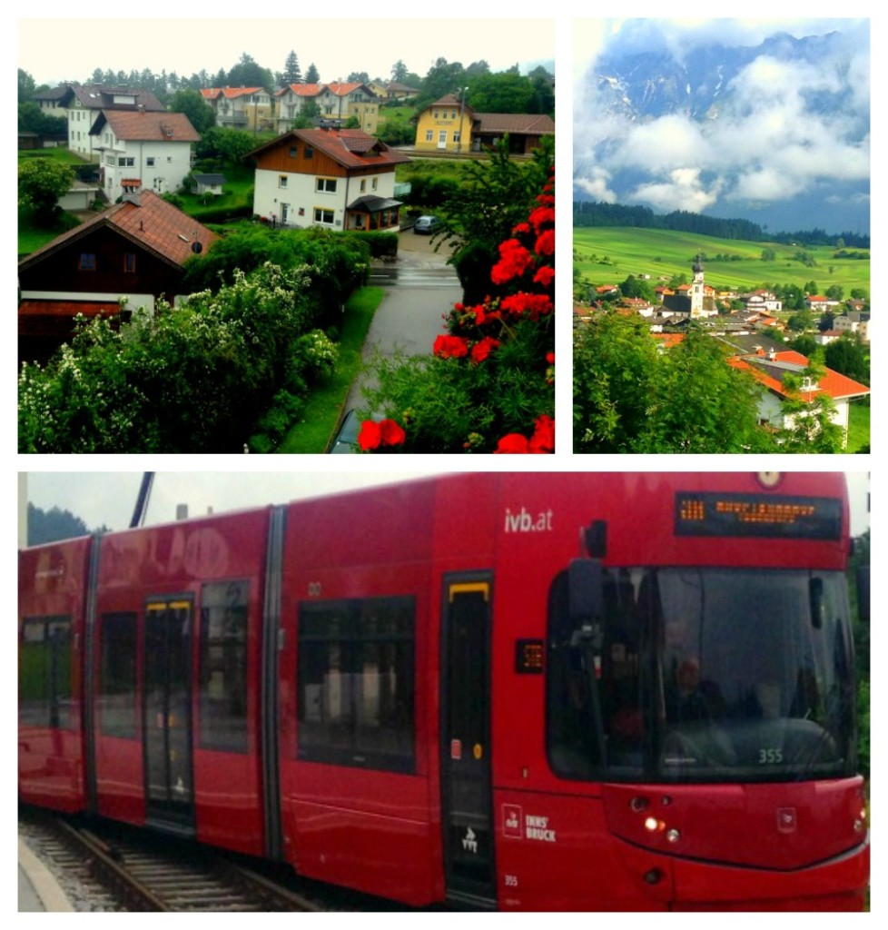 The town of Matters on the outskirts of Innsbruck, Austria and the train