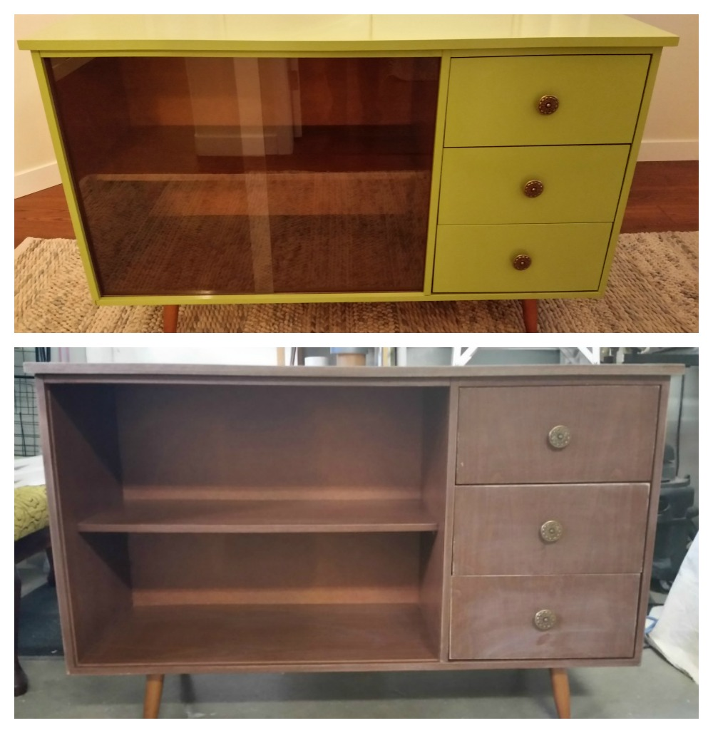 mid century cabinet updated with a coat of green paint