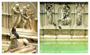 Fonte Gaia or the fountain of joy in the Piazza del Campo in Siena, Italy
