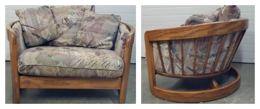 Oak Bentwood chair in original fabric