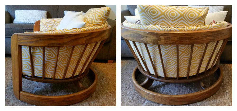 barrel chair complete with mid century inspired fabric
