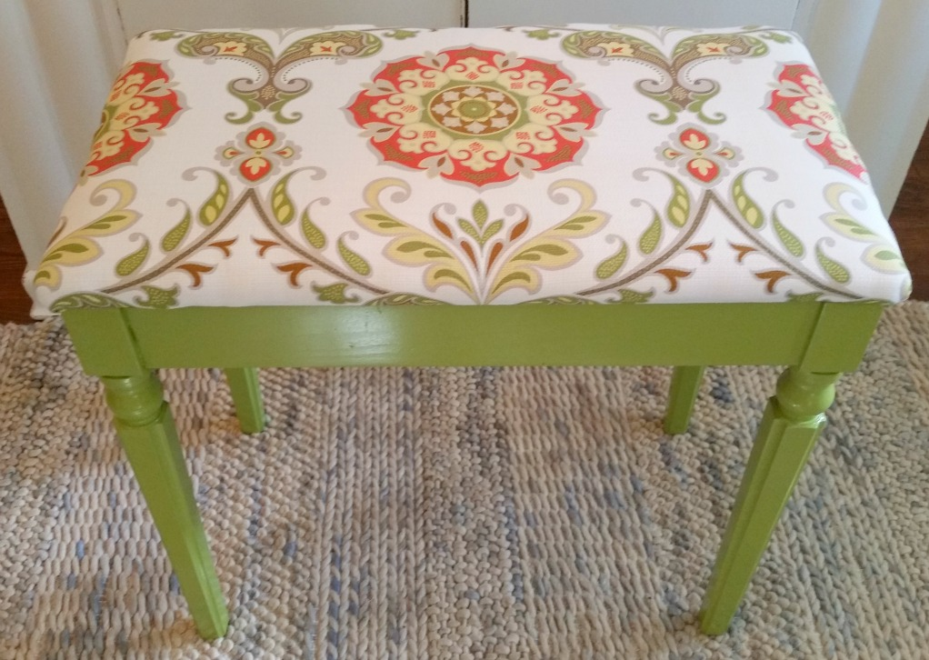 Piano bench transformed into a Moroccan inspired bench