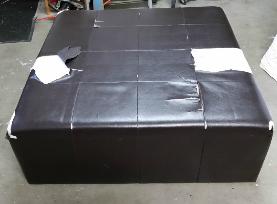 recovering a a torn pleather ottoman