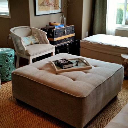 Large square ottoman upholstered in chenille and tufted