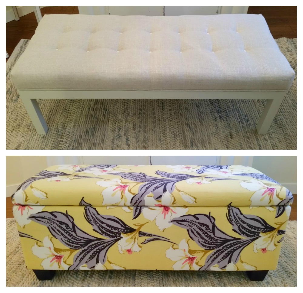 Reupholstered storage bench and tufted bench