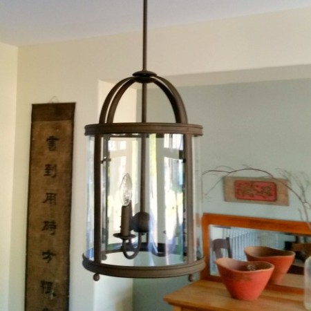 Spray painted old world Hurricane Lantern dining room fixture