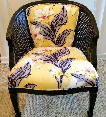 Vintage Cane Barrel Chair redone three ways