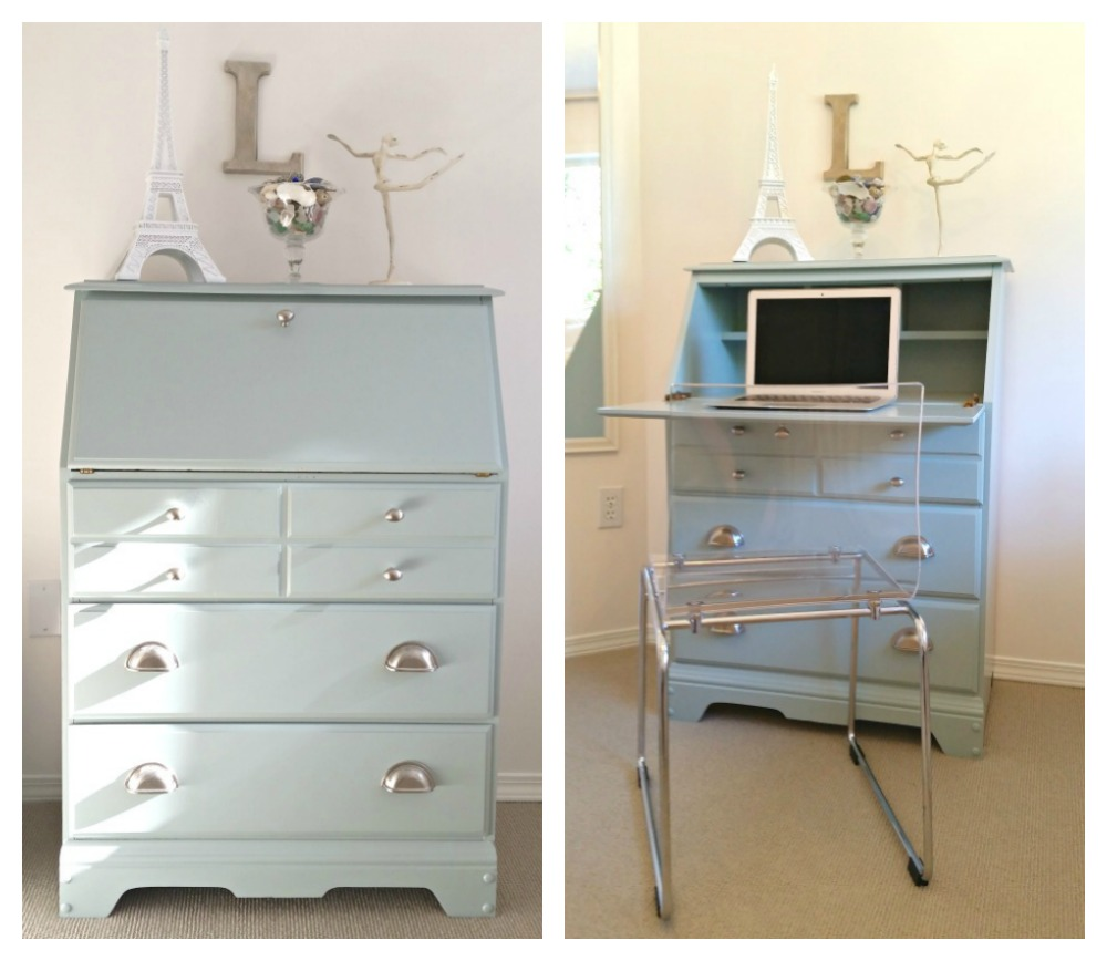 secretary desk Painted in Benjamin Moore Raindance