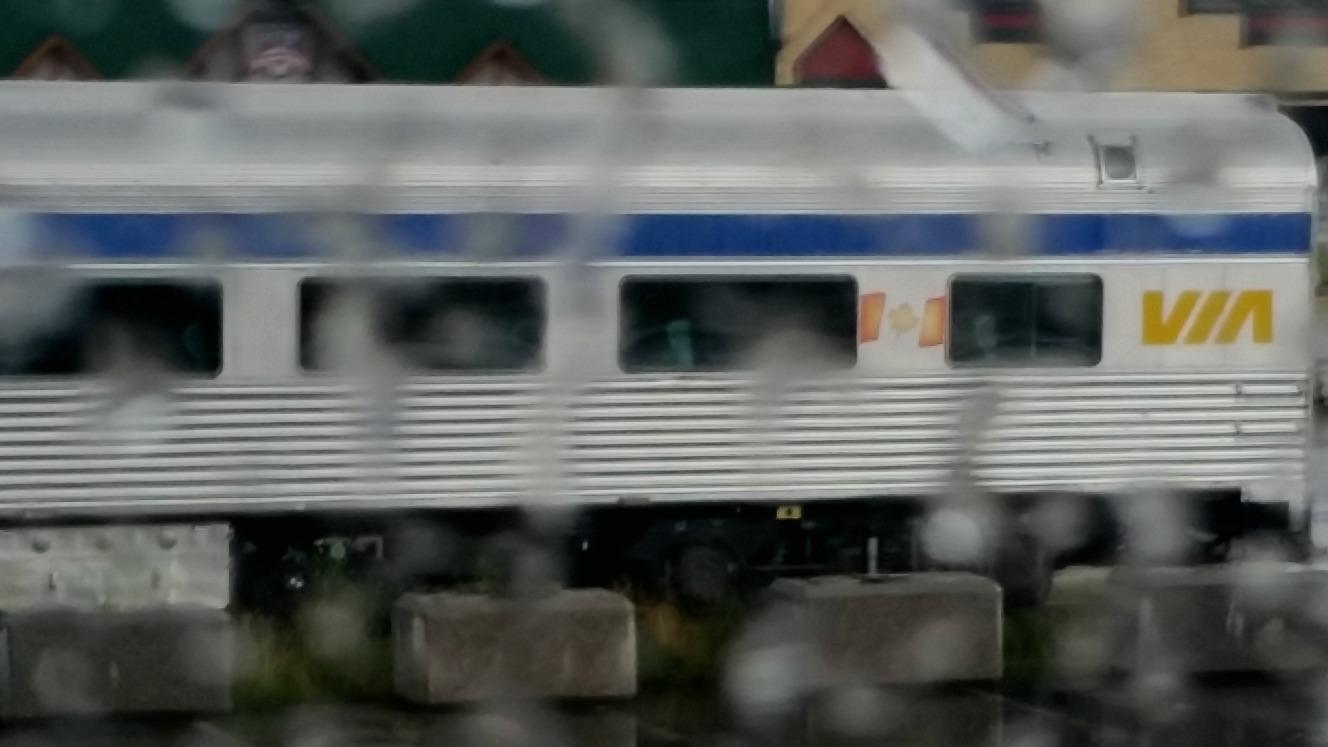 image of Via Rail car in the rain