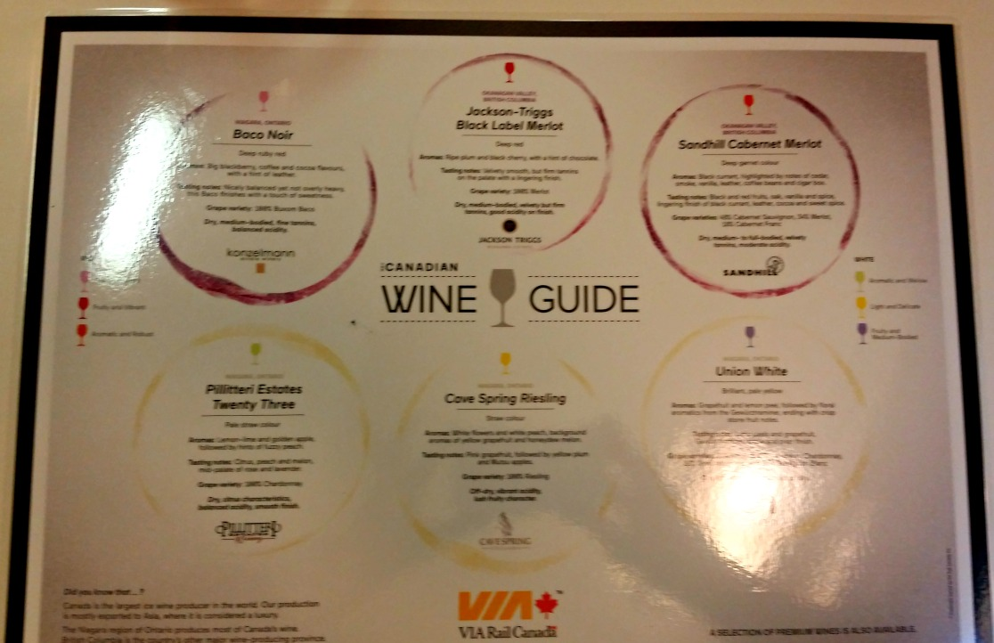 wine tasting selection on Via Rail Canada