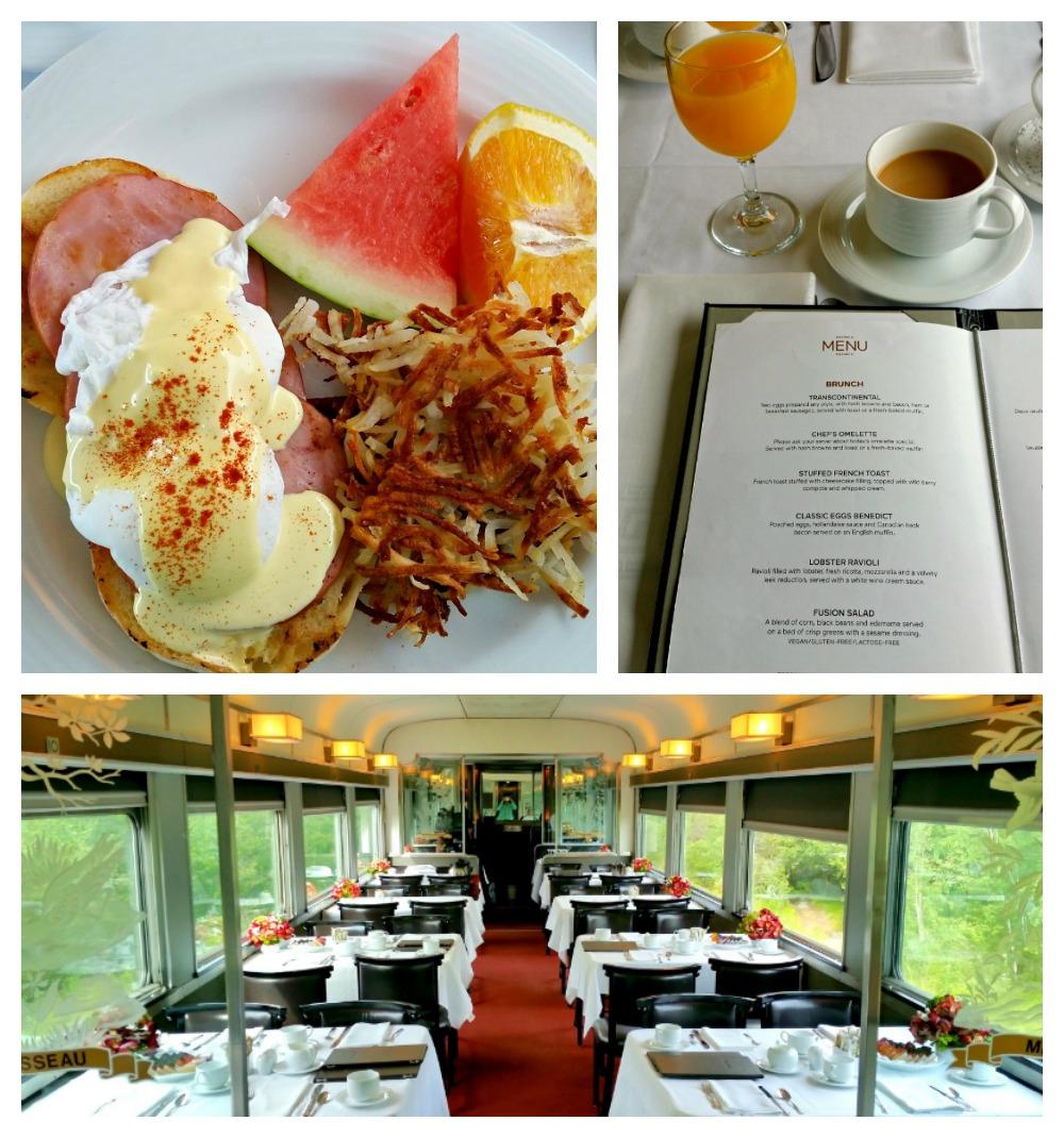 dining-car and breakfast menu on Via Rail Canada