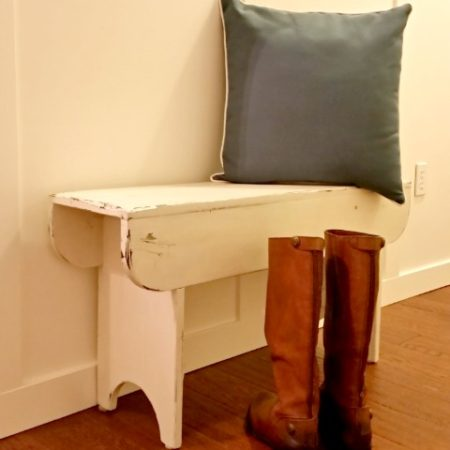 coastal inspired wooden bench for the front entry