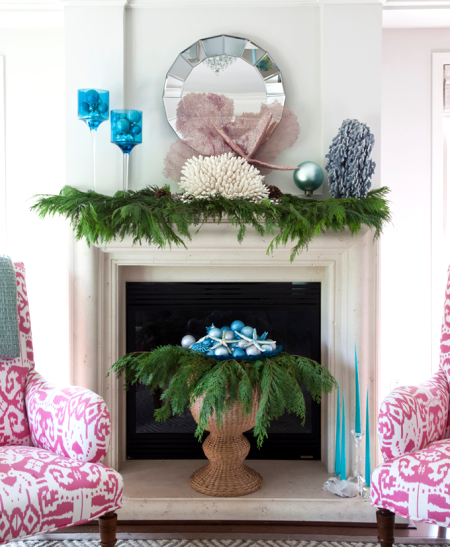 blue-and-green-christmas-mantel