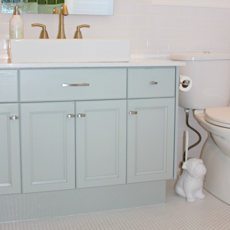 Bathroom Cabinetry painted in Benjamin Moore Raindance